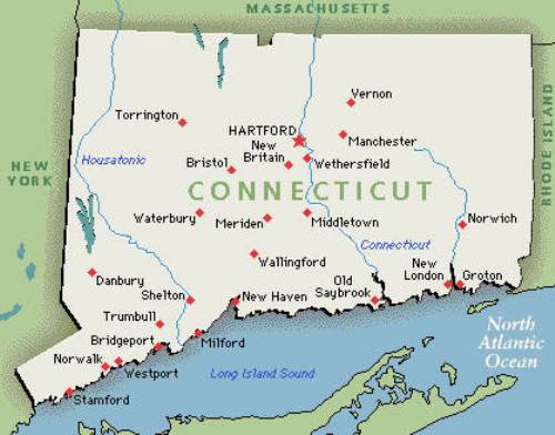 Connecticut Colony Map